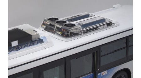 bus ac DENSO develops Electric Air conditioning System for Hybrid Buses with 50 percent less power consumption