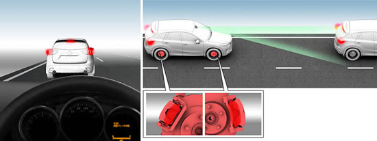 mazda scbs Mazda Smart City Brake Support helps driver to avoid a frontal collision when driving at low speeds