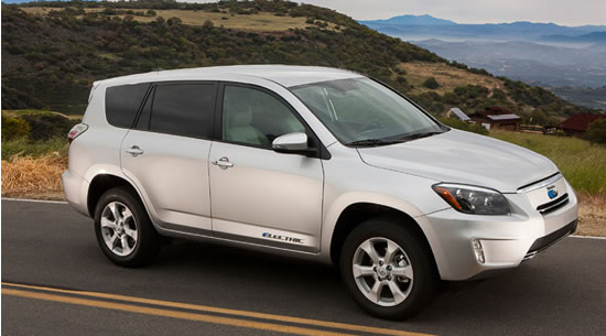 Toyota EV Toyota RAV4 EV all electric compact SUV developed with Tesla unveiled at the EVS 26 in Los Angeles 