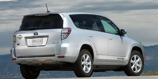 Toyota Rave EV Toyota RAV4 EV all electric compact SUV developed with Tesla unveiled at the EVS 26 in Los Angeles 