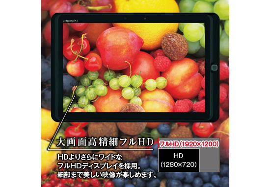 HD Fujitsu docomo ARROWS Tab F 05E tablet customizes the screens color balance to the users age