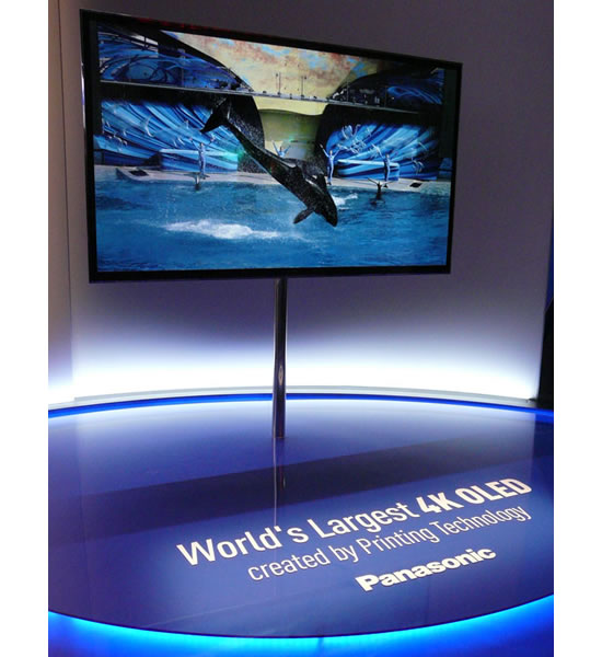 panasonic 4K OLED printing Panasonic exhibits worlds largest OLED panel produced by the RGB all printing method at 2013 CES
